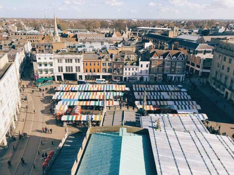 visit Cambridge - market square from above