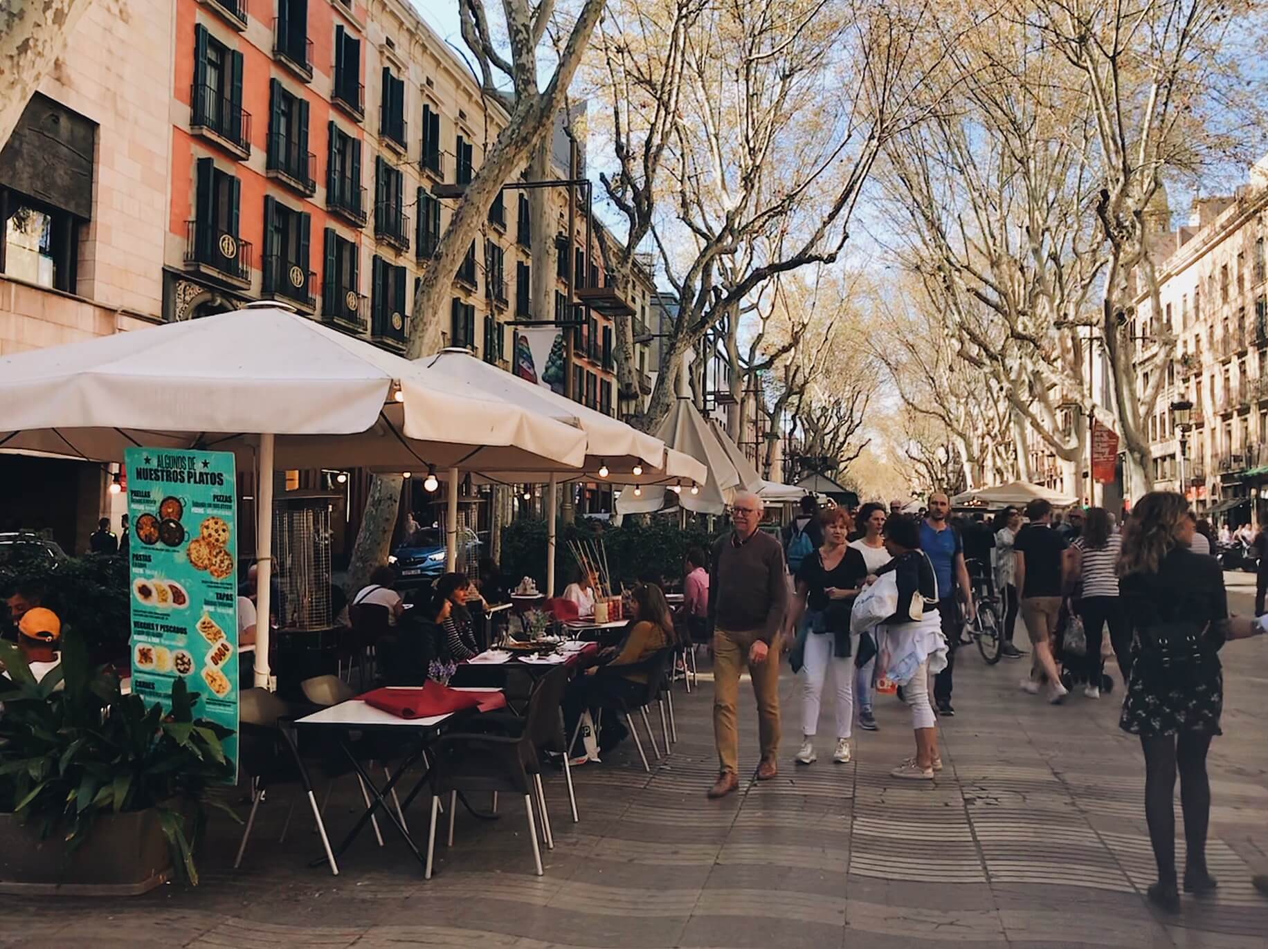 2 days in barcelona Las Ramblas Street