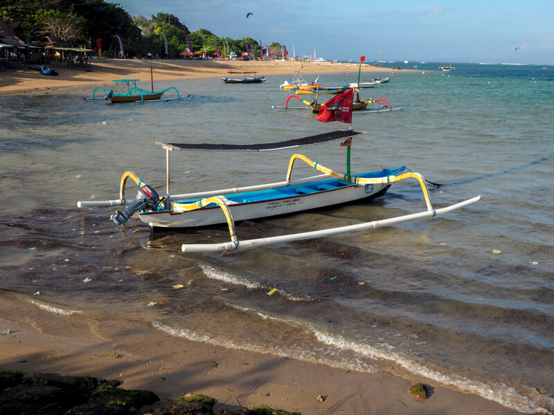 Litter and rubbish on sanur beach